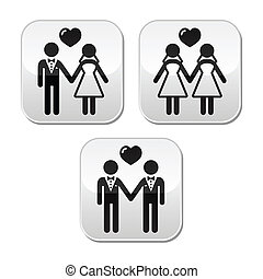 Newlywed couples vector buttons isolated on white