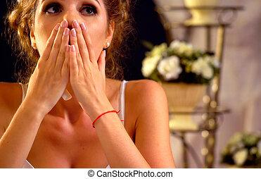 Wedding memories. Broken heart woman. Family break up.