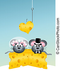 wedding mice - little gray mouse on cheese