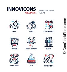 Wedding - modern vector line design icons set