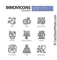 Wedding - modern vector line design icons set