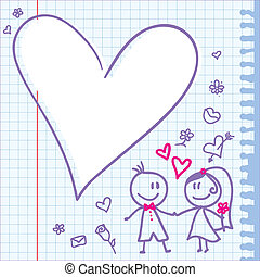 wedding note - template of a wedding card with funny couple