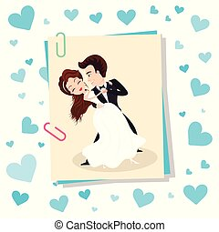 Dancing bride and groom, wedding holiday card with hearts, photo from memory event, wife in white dress and husband in suit, romantic festive vector