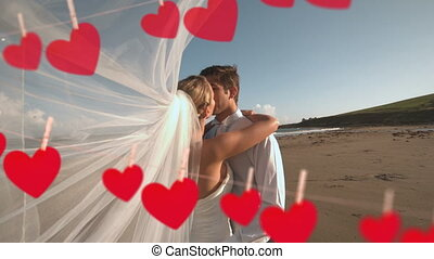 Wedding of couple on beach