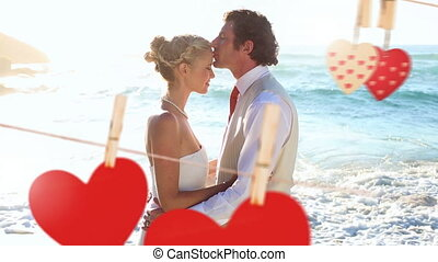Wedding of young couple on beach