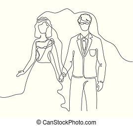 Wedding - one line design style illustration on white...