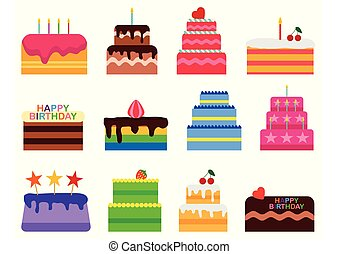 Wedding or Birthday vector pie cakes icons set. Cake sweets dessert bakery in flat style. Delicious isolated on white background. Vector illustration