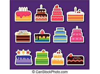 Wedding or Birthday vector pie cakes stickers icons set. Cake sweets dessert bakery in flat style. Delicious stickers on purple background. Vector illustration
