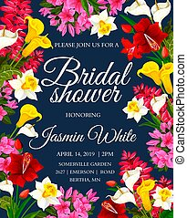 Wedding ceremony festive floral card with spring flower frame. Bridal shower invitation banner design, decorated with blooming daffodil, tulip and phlox, calla lily, delphinium and green leaf border