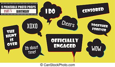 Wedding or engagement party photo booth props set of vector accessories
