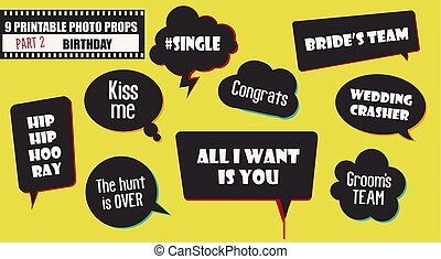 Wedding or engagement party photo booth props set of vector elements