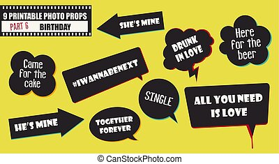 Wedding or engagement party photo booth props vector elements