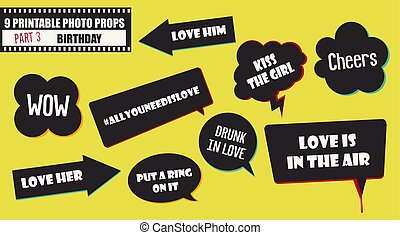 Wedding or marriage party photo booth props vector images.