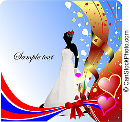 Wedding or Valentine`s Day  Greeting Card. Vector