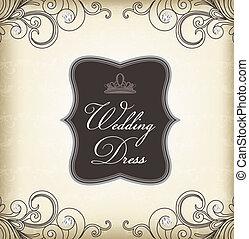 (wedding, ouderwetse , frame, dress)