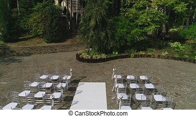 wedding outdoor ceremony - aerial footage wedding ceremony...