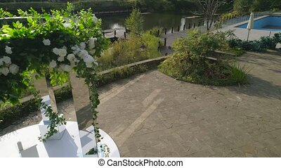 wedding outdoor ceremony - aerial footage wedding ceremony...