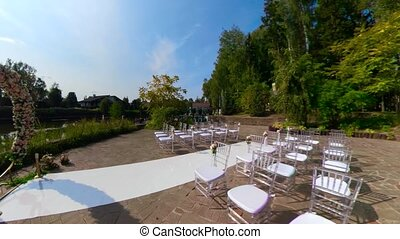wedding outdoor ceremony - wedding ceremony with arch...