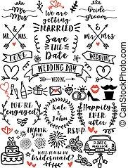 wedding, overlays, vektor, satz