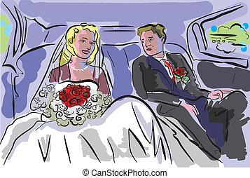 wedding pair inside car - wedding illustration
