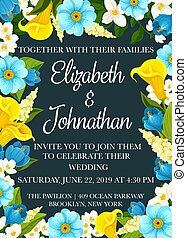 Wedding party invitation banner with flower frame
