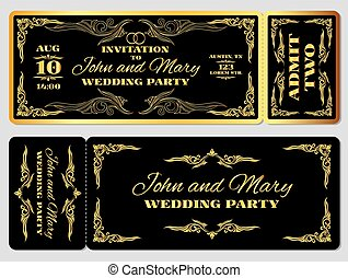 Wedding party invitation template in golden black