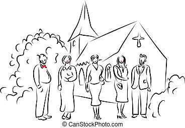 people at a wedding standing outside the church