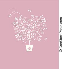 Wedding pastel card with beautiful decorative tree