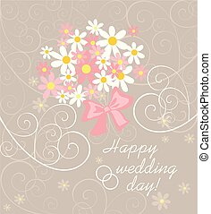 Wedding pastel card with pink and white daisy bouquet