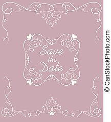 Wedding pastel card with vintage arch and frame. Save the date
