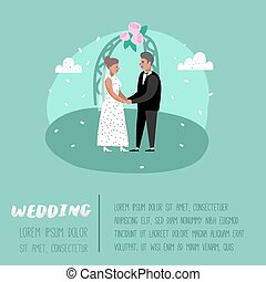 Wedding People Cartoons Bride and Groom Characters Poster Card. Romantic Ceremony Elements with Happy Couple. Vector illustration