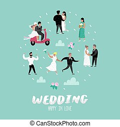 Wedding People Cartoons Bride and Groom Characters. Romantic Ceremony Elements with Happy Couple. Vector illustration