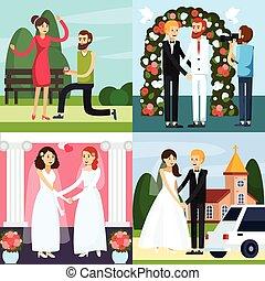 Wedding People Orthogonal Icon Set
