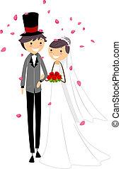 Wedding Petals - Illustration of Newlyweds Being Showered...