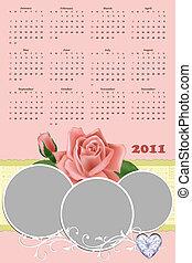Wedding photo frame with calendar 2011