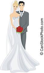 Wedding Photo - Illustration of a Newlywed Couple Posing for...