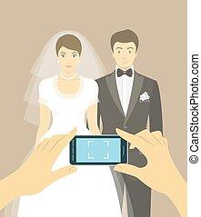Wedding photo of bride and groom - Modern flat vector...