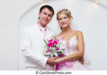 wedding photo. Portrait of beautiful bride and groom