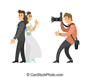 Wedding Photo Session of Newlyweds by Photographer - Wedding...