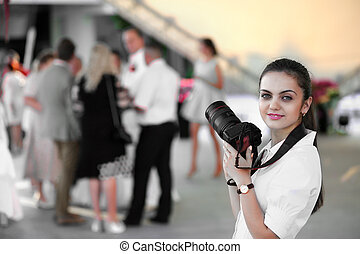 wedding photographer in action - Wedding photographer taking...