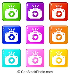 Wedding photography icons set 9 color collection