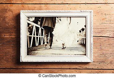 Wedding photos on a table