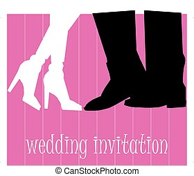 Wedding picture, bride and groom in love, the vector