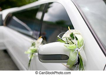 Wedding bouquet lies on the car. Wedding day. Summer Day
