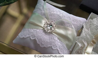 Wedding pillow for rings decorated