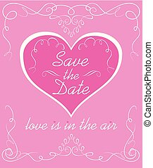 Wedding pink invitation with vintage vignette and heart shape. Save the date