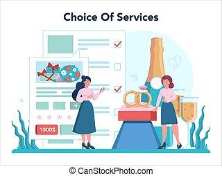 Wedding planner concept. Professional organizer planning wedding