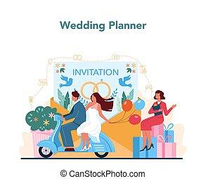 Wedding planner concept. Professional organizer planning wedding event