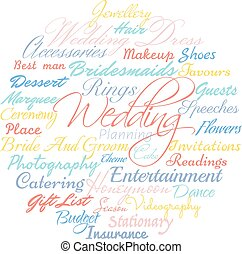 Wedding planning cloud. - Wedding planning related words,...