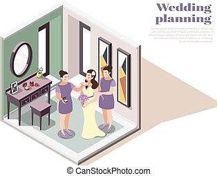 Wedding Planning Isometric Poster